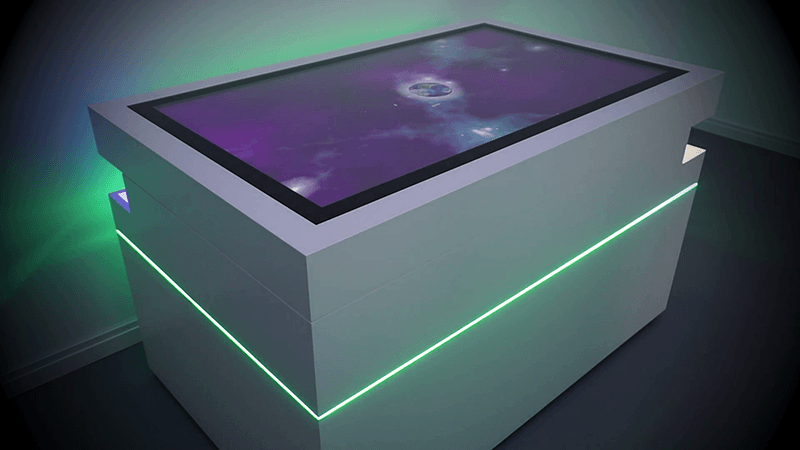 Multitouch-Tisch mit 660 LEDs interaktiv beleuchtet