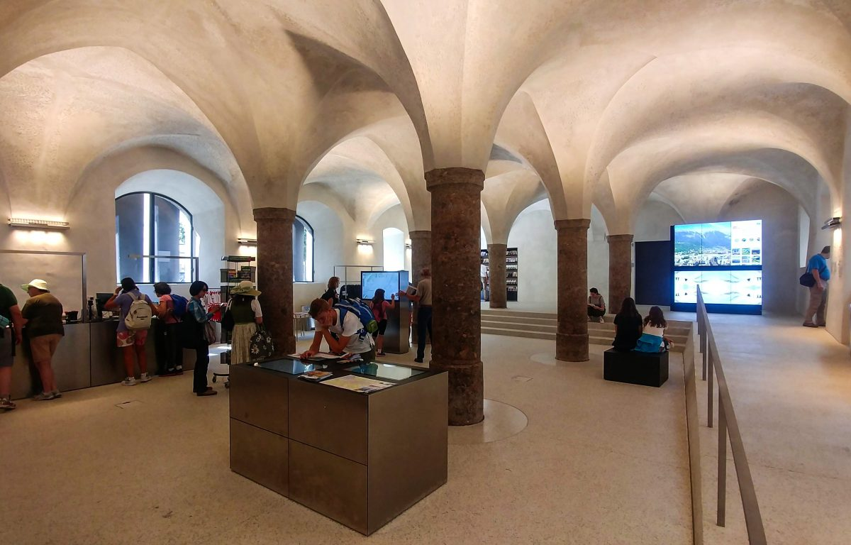 Modern touch screens and display walls offer information and experiences in the Innsbruck Information Center
