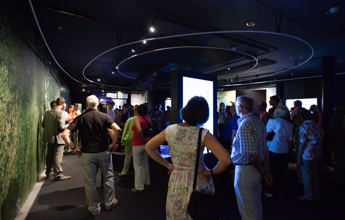Interactive exhibition with seven rotating touch screens