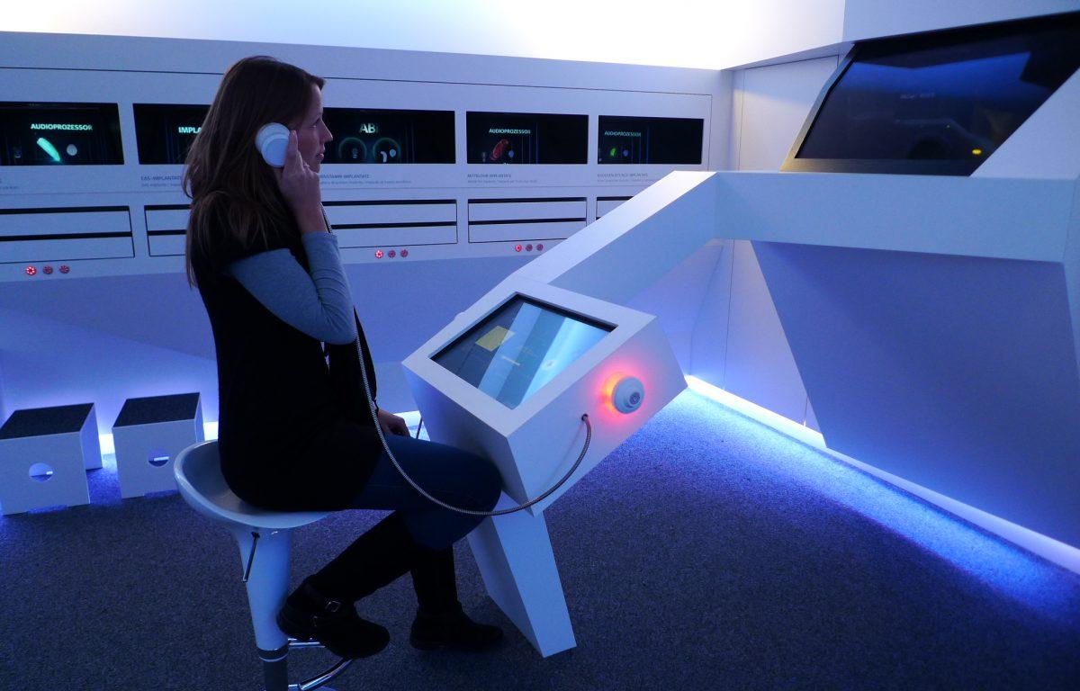 Audio-System in der interaktiven Unternehmensausstellung Audioversum von MED-EL