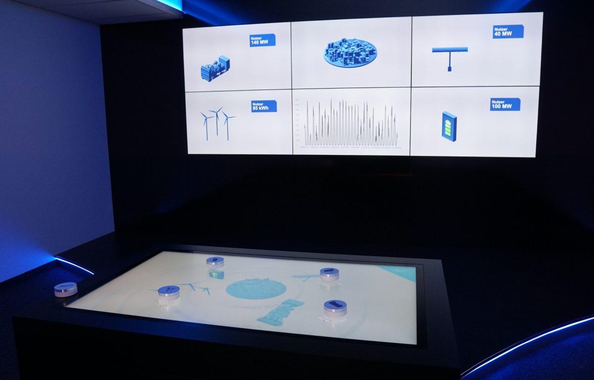 Screenwall ist von Multitouch Tisch gesteuert und zeigt die Prognoseauswertung der KI