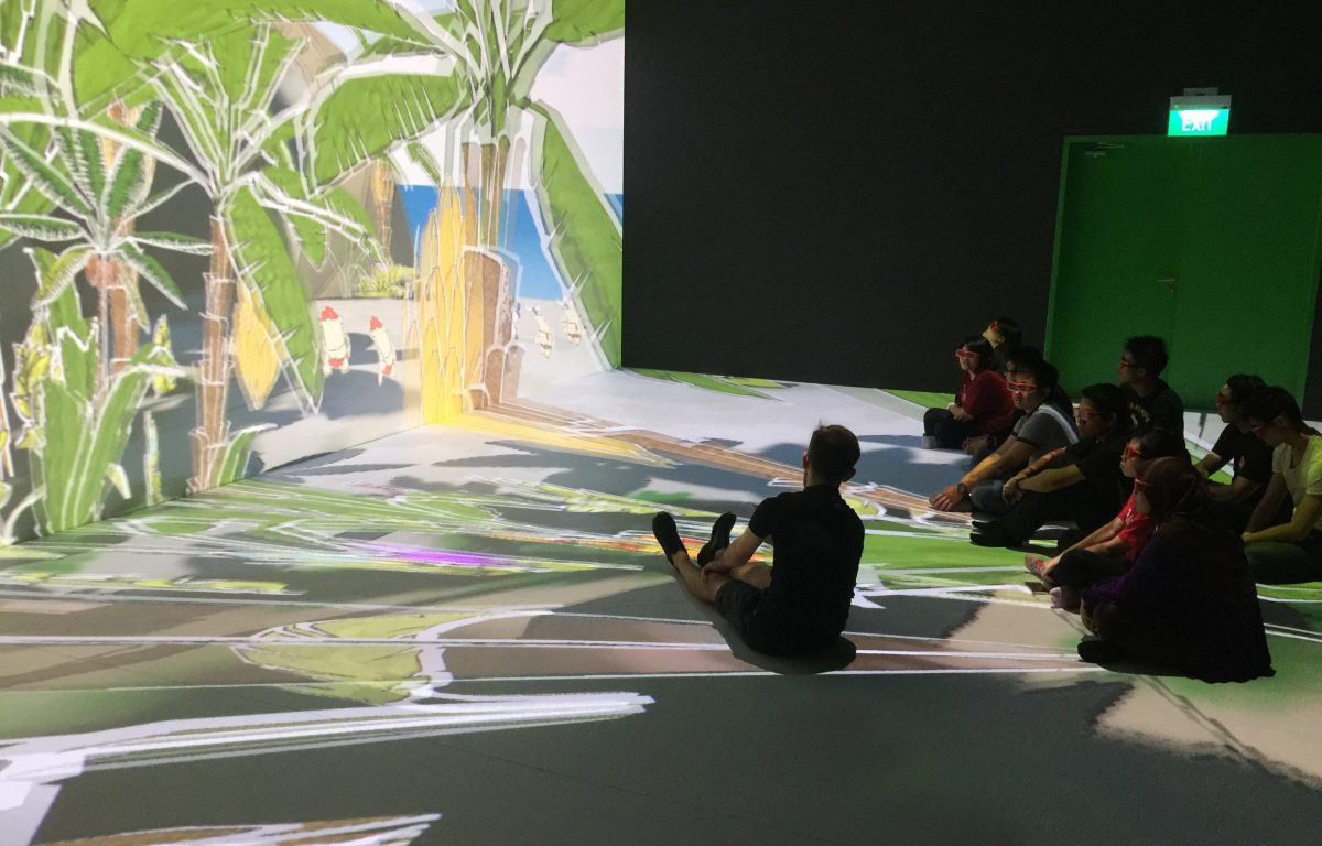 Deep Space is a virtual reality environment consisting of a wall and a walk-through floor projection