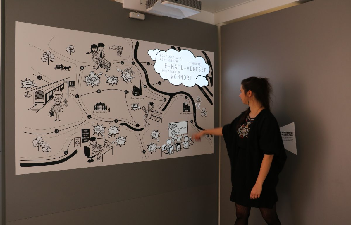 Interactive wall projection combines a print surface with multitouch and animated scenes