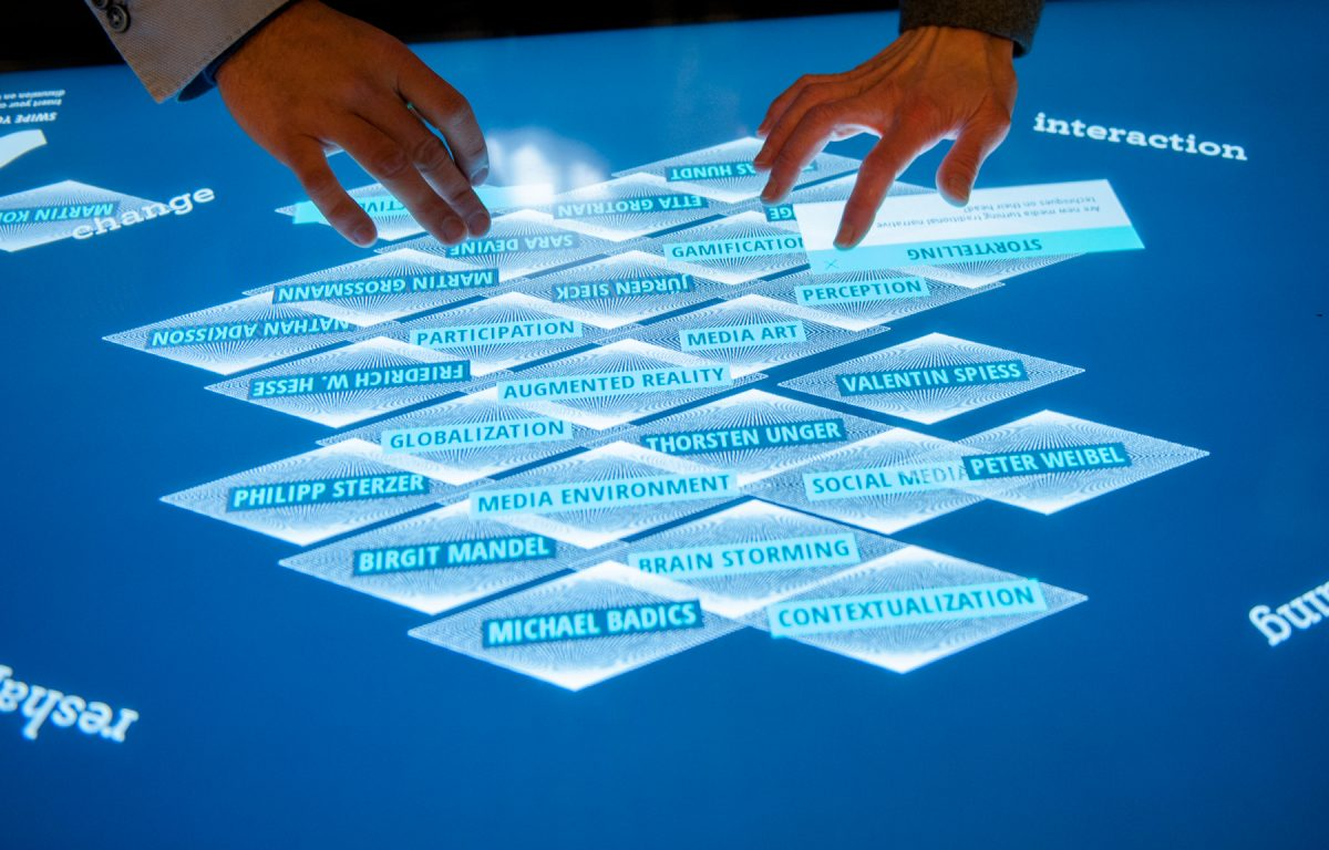 Garamantis Multitouch Software auf dem Multitouch-Scanner-Tisch