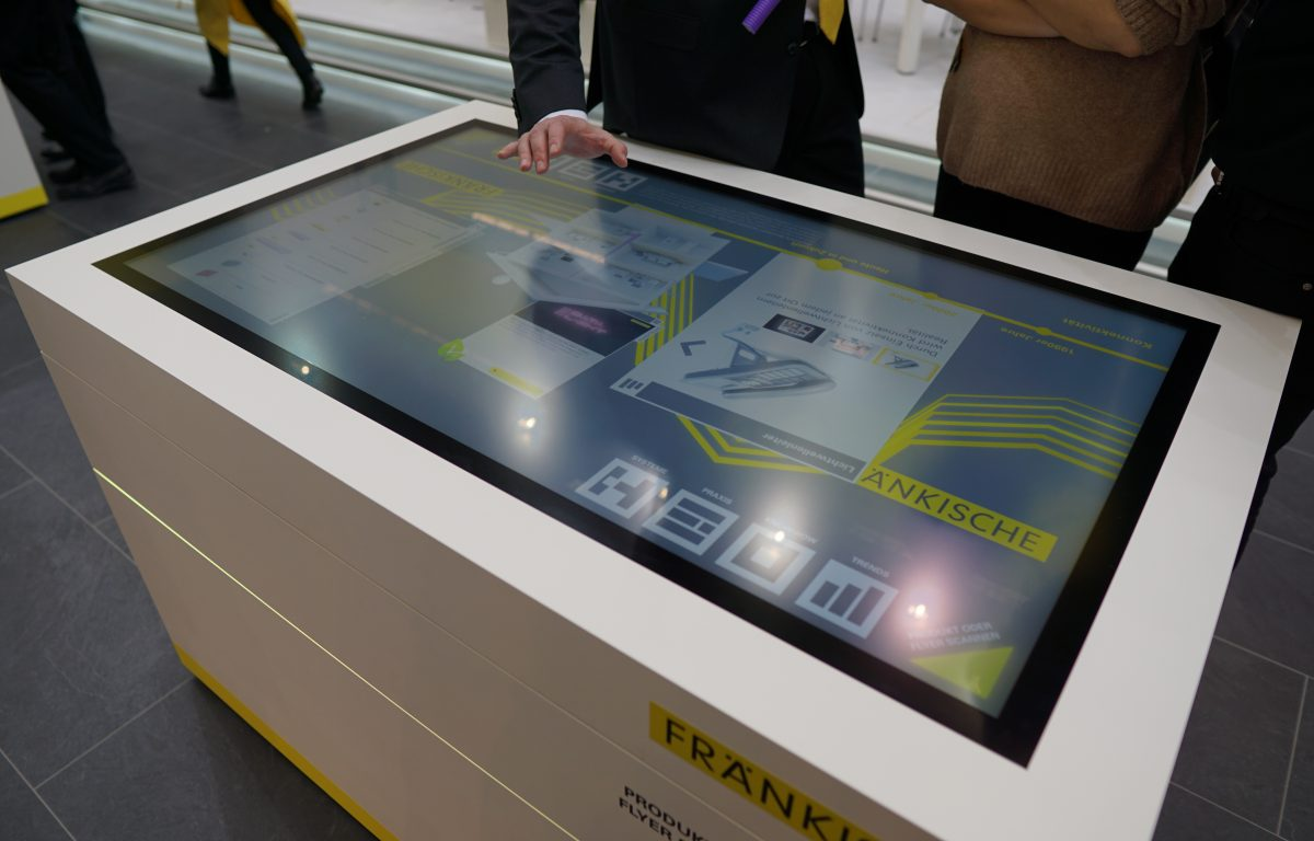 Multitouch software at the interactive booth of Fränkische
