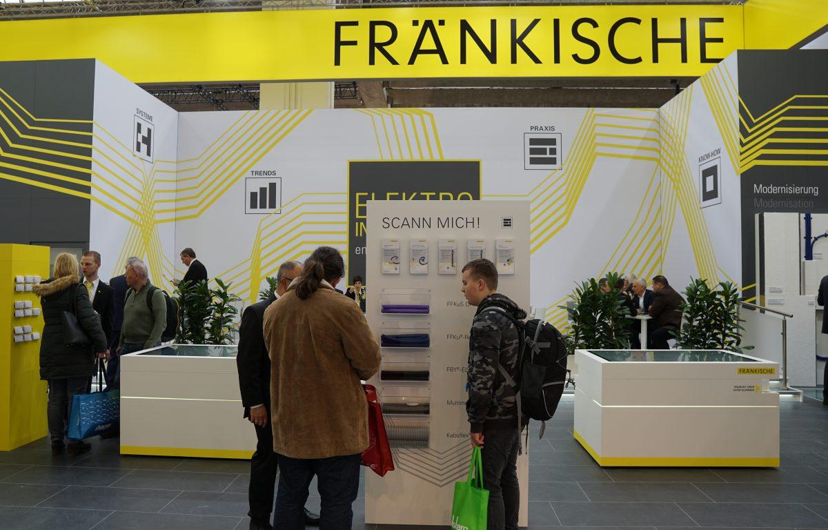 Product samples and flyers at the interactive booth of Fränkische