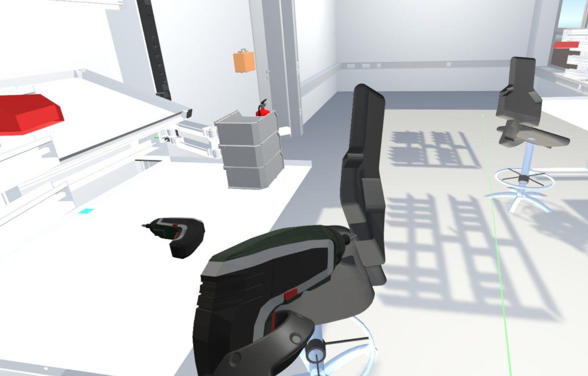 Benutzung von Werkzeugen und Maschinen in der VR-Umgebung