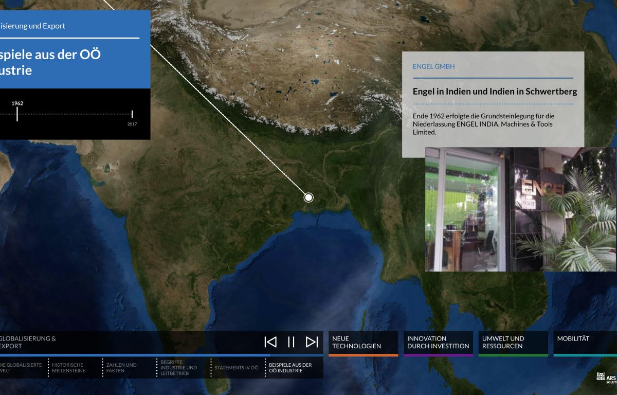 Multitouch Software mit interaktiver Weltkarte zoomt auf Projektstandorte