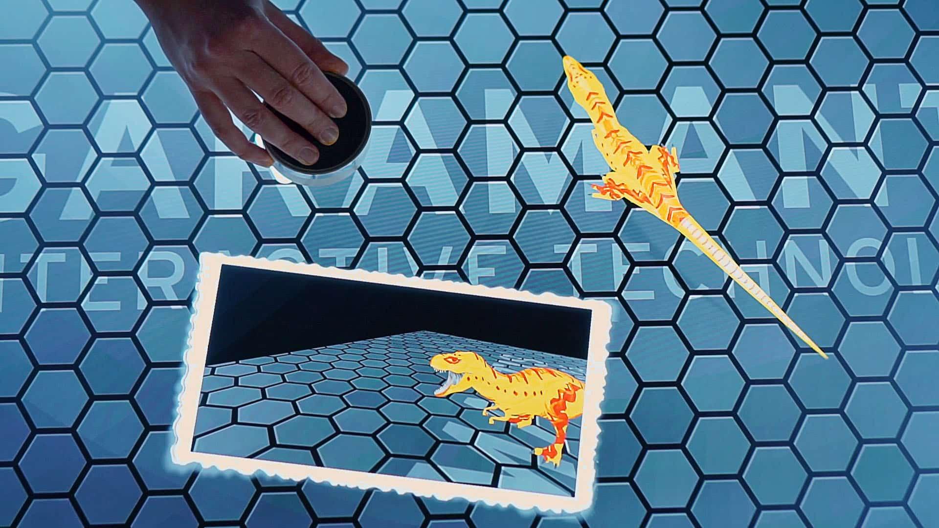 Spielerische 3D-Dinosaurier auf Multitouch-Oberfläche