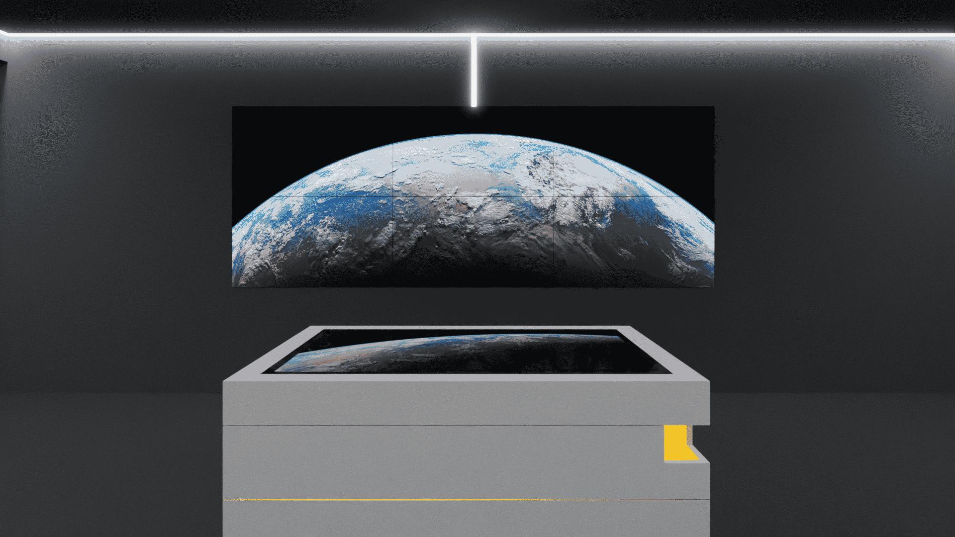 Screen-Wall in interaktivem Showroom wird von Multitouch-Tisch gesteuert