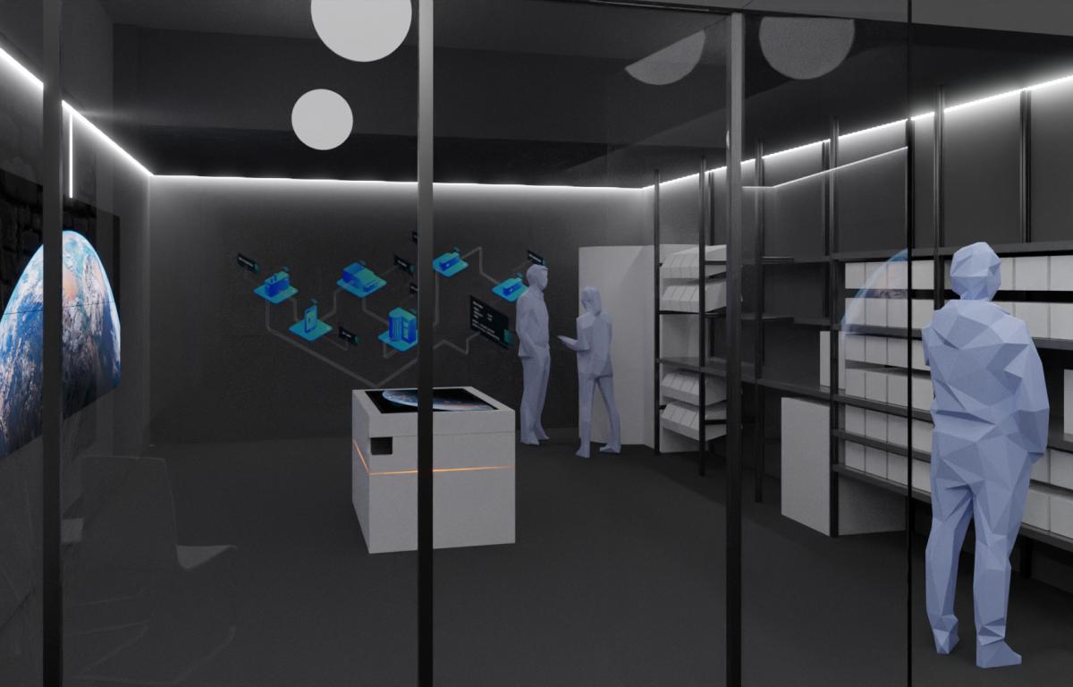 Showroom mit offenem Raumdesign und Glasfront