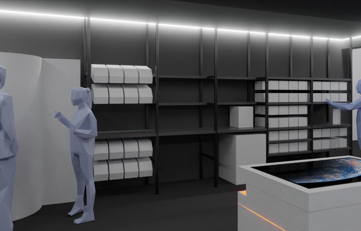 Showroom mit per IoT-Protokoll mit Produkten verbunden
