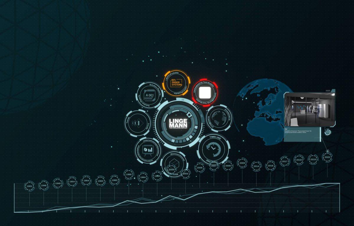 Futuristische Multitouch-Software UI mit Globus und Zeitstrahl
