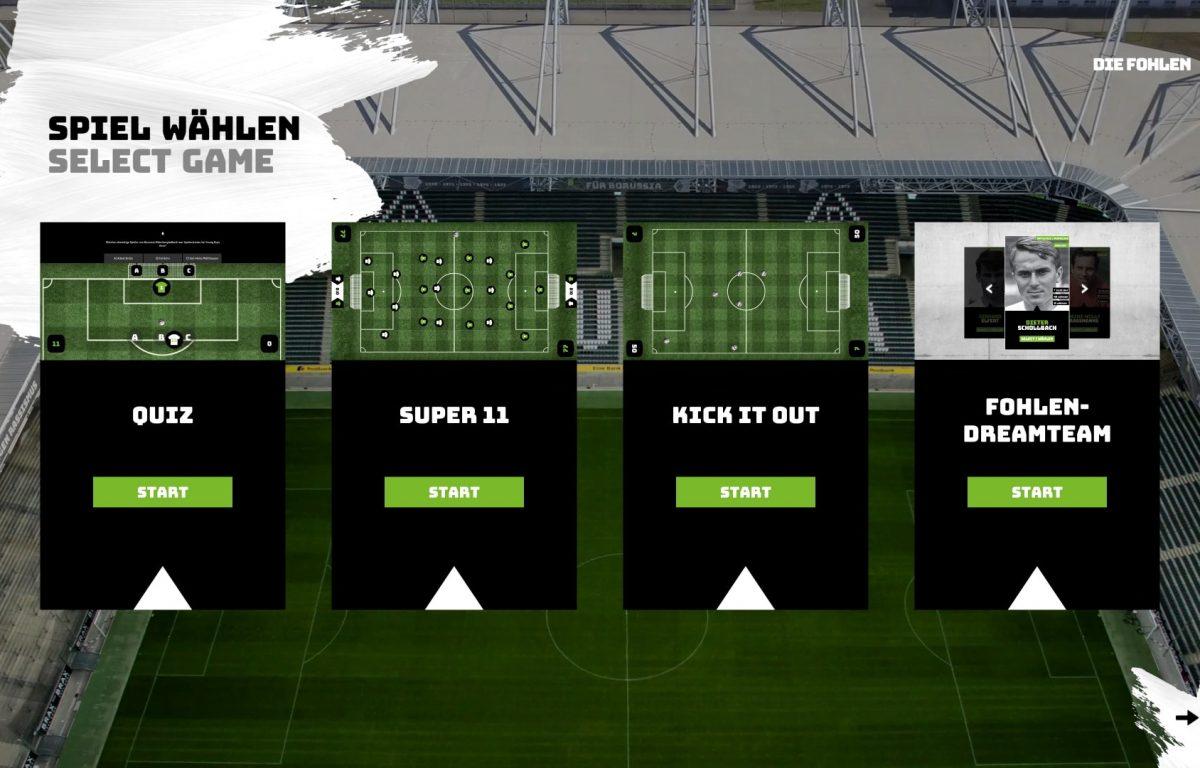 Spielauswahl Fußball Multitouch-Tisch
