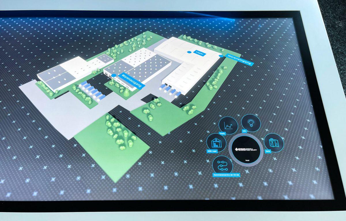Interaktive 3D Multitouch-Software zeigt zentrales Warenlager