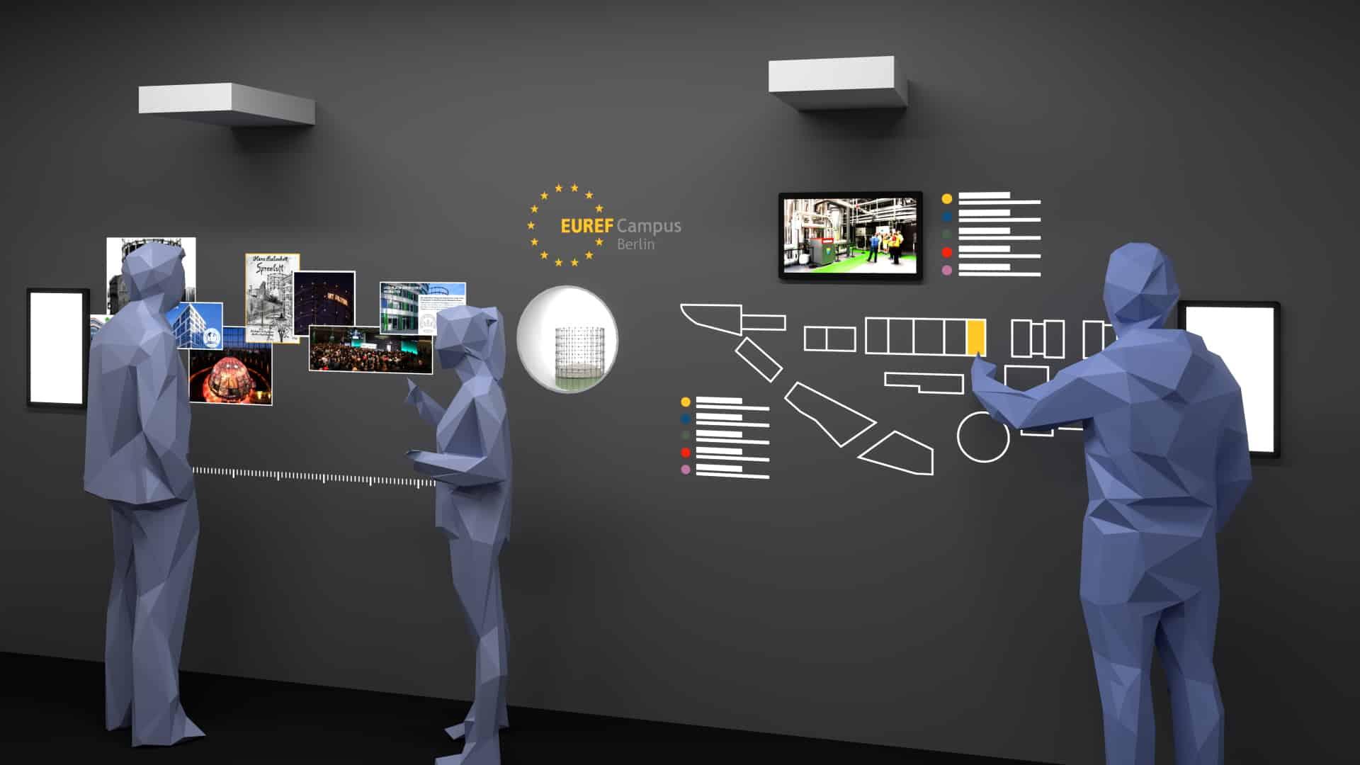 interaktive Wand mit Multitouch-Bildschirm, Projektion und Vitrine