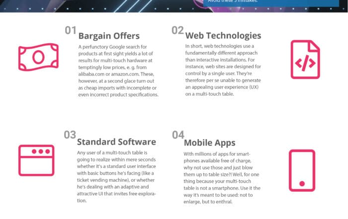 5 mistakes when buying a multitouch table - infographic