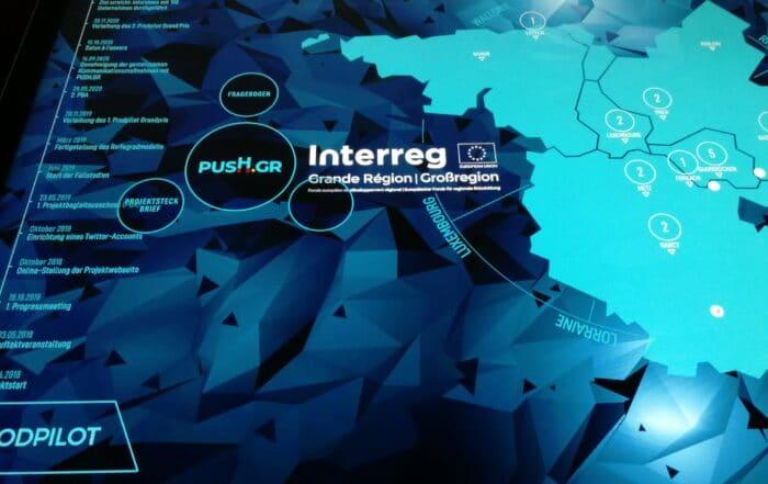 htw saar präsentiert interreg Projekte auf Multitouch-Tisch